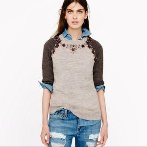 J.Crew Jeweled Short Sleeve Sweater